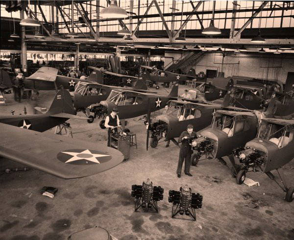 O-57in final Taylorcraft hangar