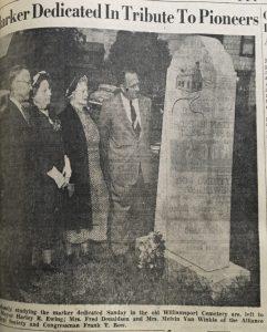 Dedication of Williamsport, Ohio marker